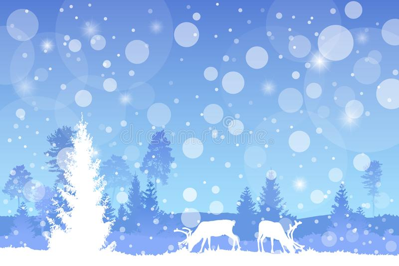 导航在蓝色颜色的冬天圣诞节树木丛生的风景与降雪作用 皇族释放例证