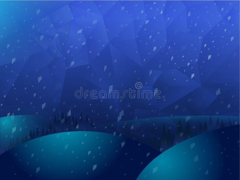 导航在蓝色颜色的多角形马赛克摘要几何背景风景 库存例证