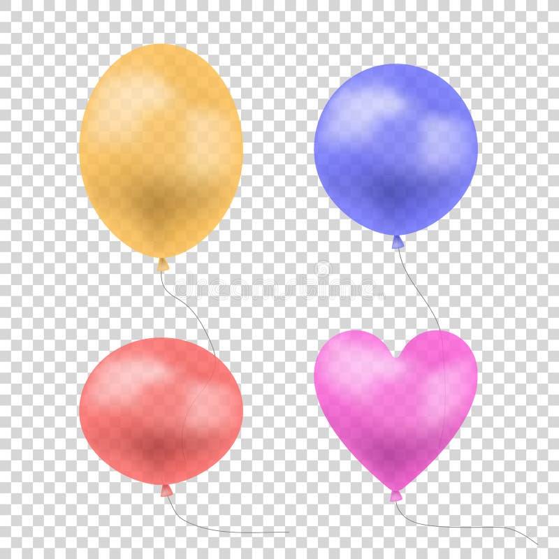导航在轻的透明背景,橙色,蓝色,红色和桃红色空球隔绝的透亮五颜六色的气球集合 皇族释放例证