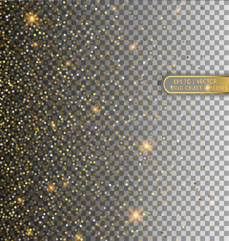 导航在透明背景和星的隔绝的欢乐例证落的发光的微粒 金黄五彩纸屑闪烁 温泉 库存例证