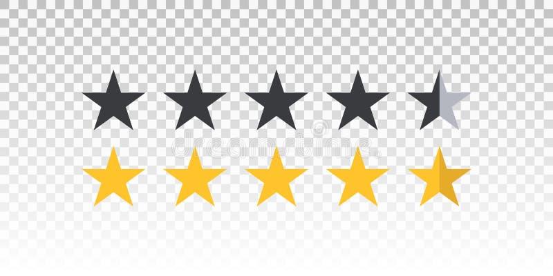 导航在透明背景隔绝的黄色和黑星规定值酒吧 设计的元素您的网站或app 皇族释放例证