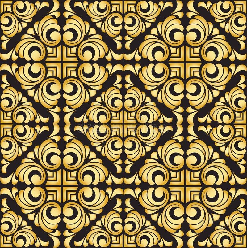 导航在金黄样式的葡萄酒巴洛克式的无缝的样式在黑背景 皇族释放例证