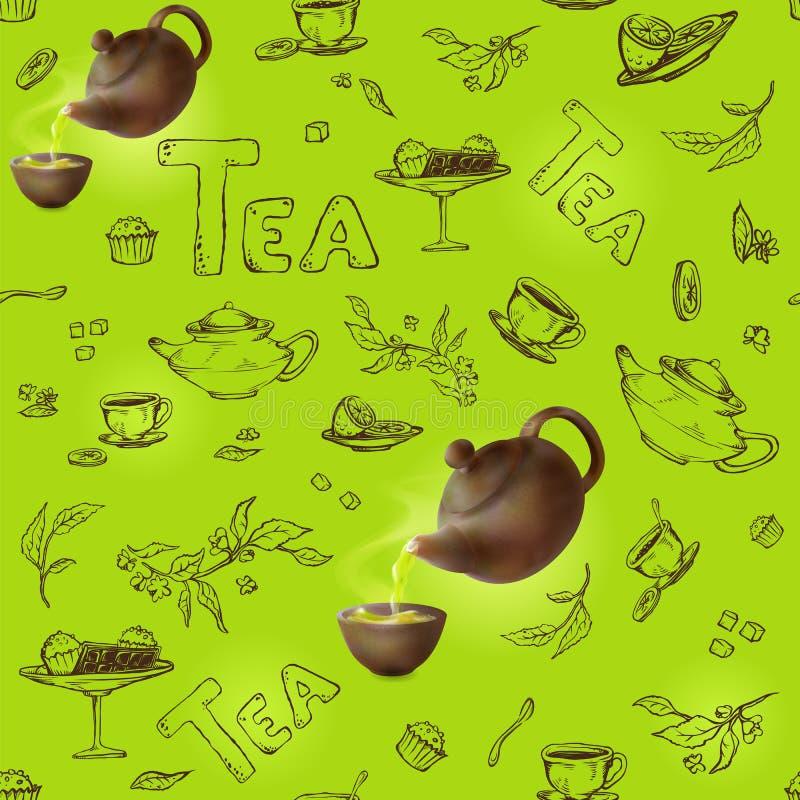 导航在项目一个绿色背景剪影的无缝的样式茶会的 3d茶壶和杯子,糖果,柠檬,茶碟 皇族释放例证