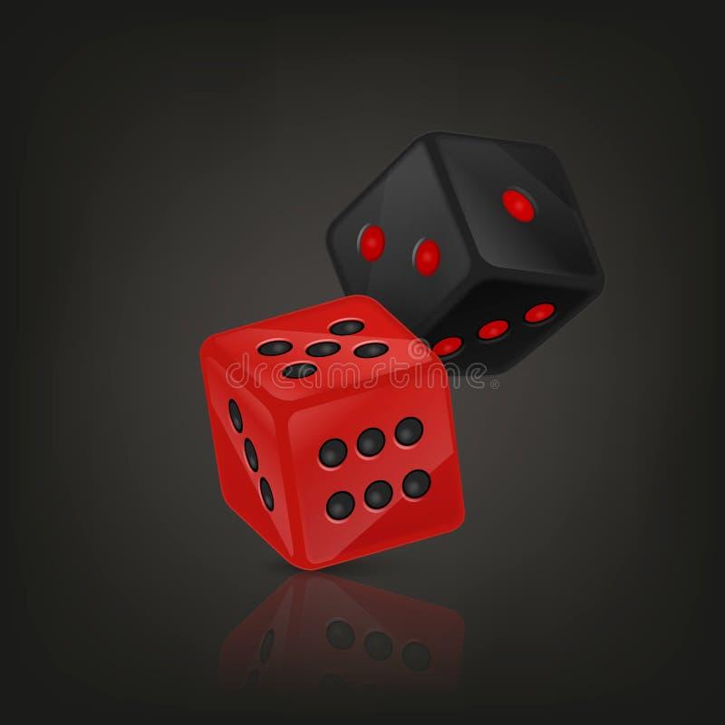 导航在飞行中红色和黑现实比赛模子象特写镜头的例证在黑背景的 赌博的赌博娱乐场 库存例证