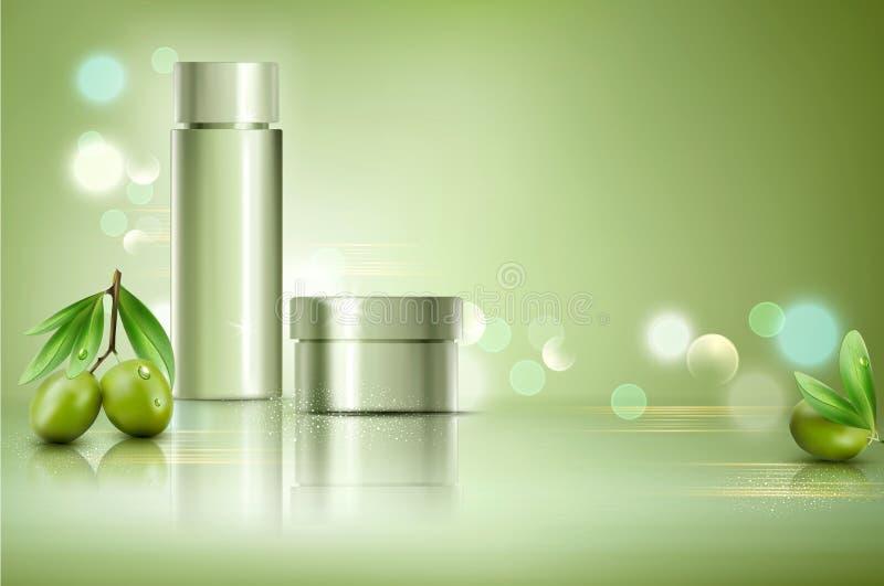 导航在bokeh背景的玻璃瓶子用绿橄榄 Elemen 库存例证