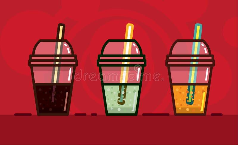 导航在kawaii样式成碳酸盐的软饮料的例证不同的口味和光在玻璃与秸杆在brigh 皇族释放例证