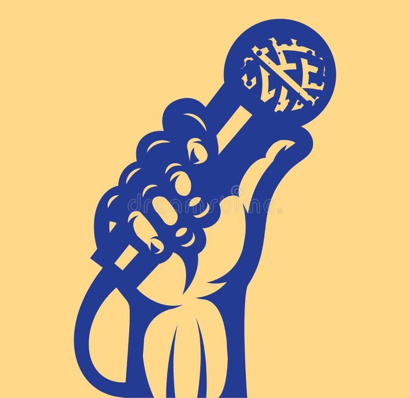 导航在vocals题材的例证与话筒和手的 皇族释放例证