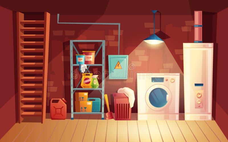 导航地窖内部,在地下室的动画片洗衣店 皇族释放例证