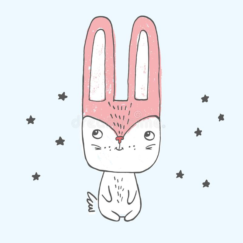 导航坐在与大头,小身体,长的耳朵的星中的一点兔宝宝的例证 向量例证