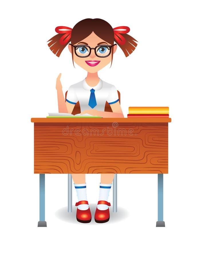 导航坐在类的逗人喜爱的聪明的女孩的五颜六色的例证在桌上 库存例证