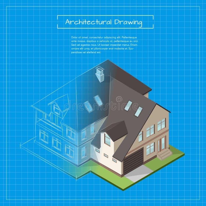 导航城市大厦图纸的等量3d例证 库存例证