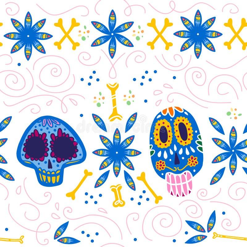 导航墨西哥传统庆祝的无缝的样式- dia de los muertos -与五颜六色的头骨,骨头,花饰isol 库存例证
