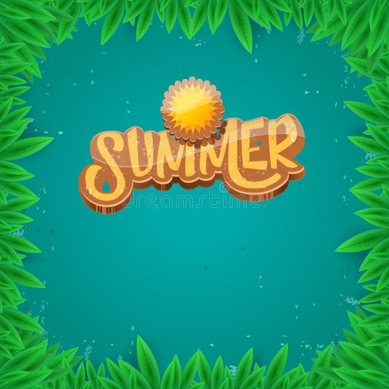 导航夏天商标纸在绿色叶子背景的艺术syle 夏天海滩党海报、飞行物或者横幅设计 皇族释放例证