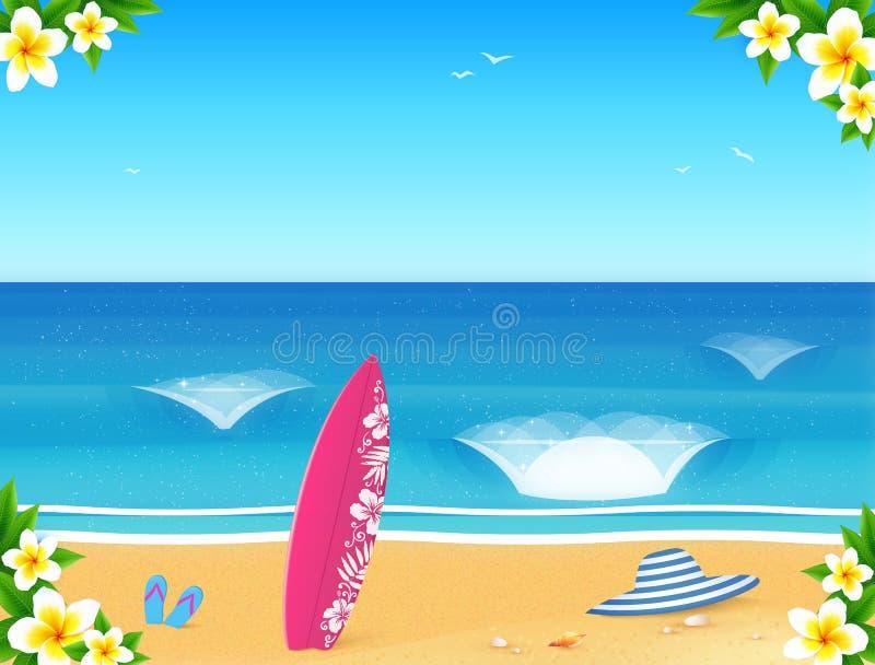 导航夏天海滩与沙子、波浪、水橇板、帽子和拖鞋的明信片模板 向量例证