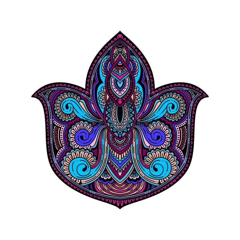 导航多彩多姿的装饰莲花,种族艺术,被仿造的印地安人佩兹利 象查找的画笔活性炭被画的现有量例证以图例解释者做柔和的淡色彩对传统 邀请元素 ta 库存例证