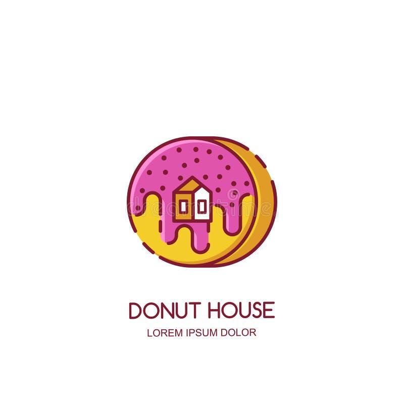 导航多福饼房子商标,象,象征设计模板 面包店商店的,早餐菜单,咖啡馆概念 库存例证