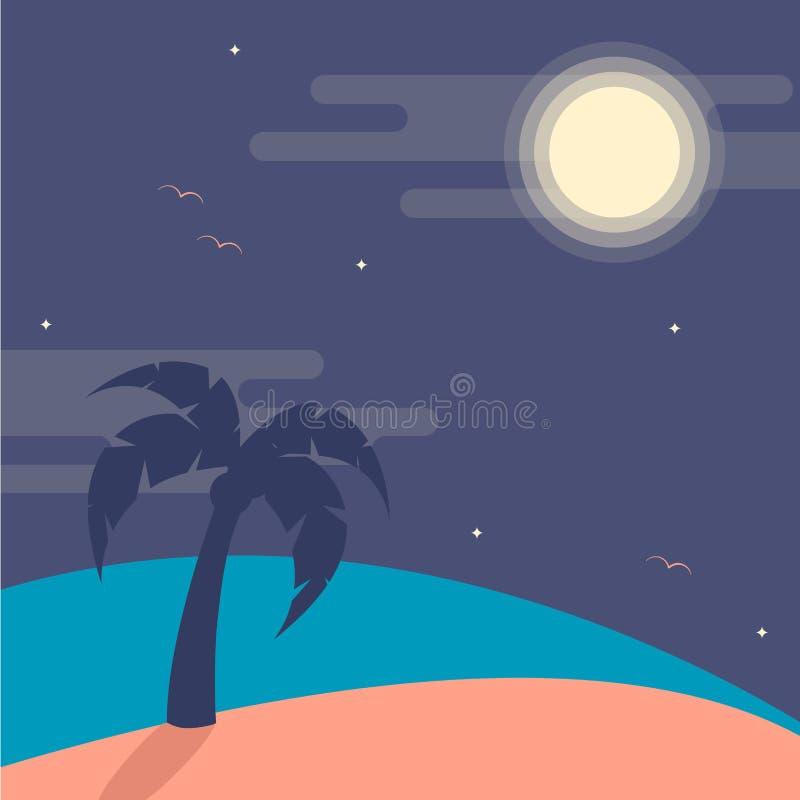 导航夜海滩的例证与棕榈树,月亮的 库存例证