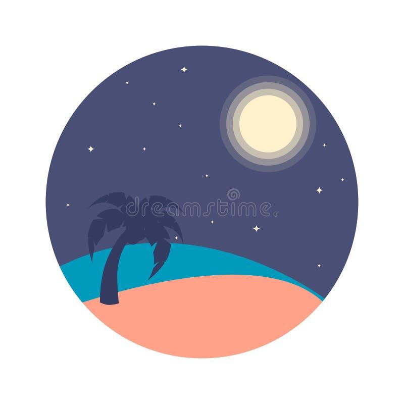导航夜海滩的例证与棕榈树,月亮的 皇族释放例证