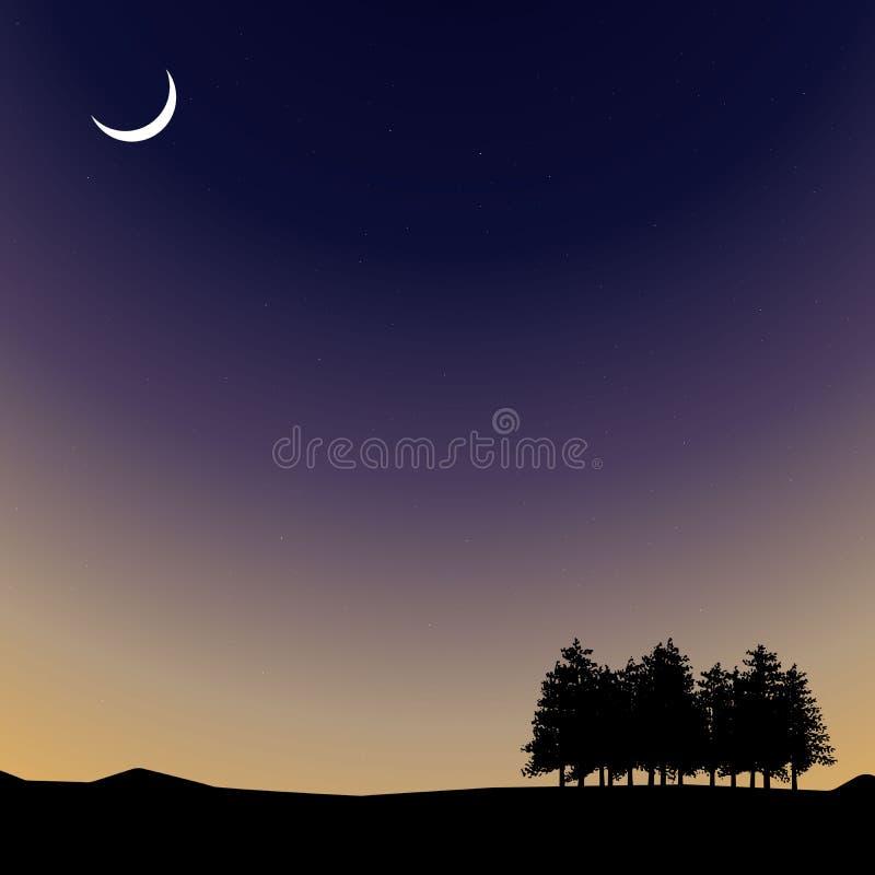 导航夜间天空、自然风景与月亮和树 库存例证