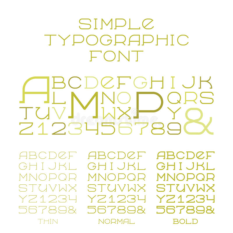 导航大写字母的简单的细体字母表三类型在平的样式的 向量例证