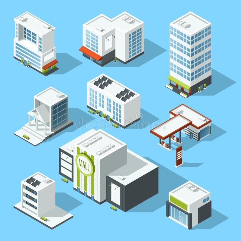 导航大型超级市场、银行和其他服务和市政大厦的等量例证 向量例证