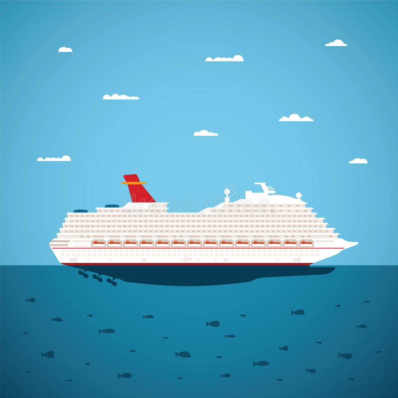 导航大海巡航划线员的例证在现代平的样式的 向量例证