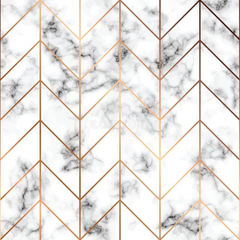 导航大理石纹理,与金黄几何线的无缝的样式设计,黑白使有大理石花纹的表面,现代豪华 向量例证