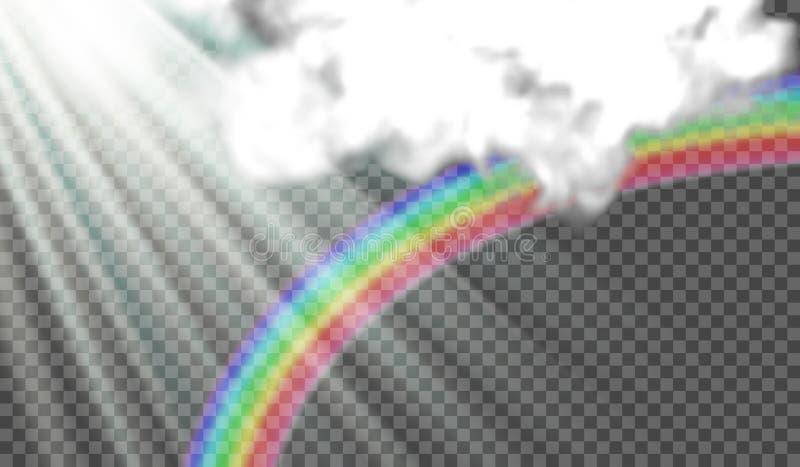 导航太阳光芒的例证,在雨,暴风云以后的彩虹 在透明背景 皇族释放例证