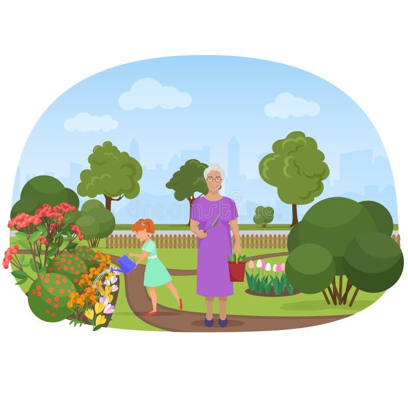 导航女孩浇灌的花的例证与祖母的拥有庭院 向量例证
