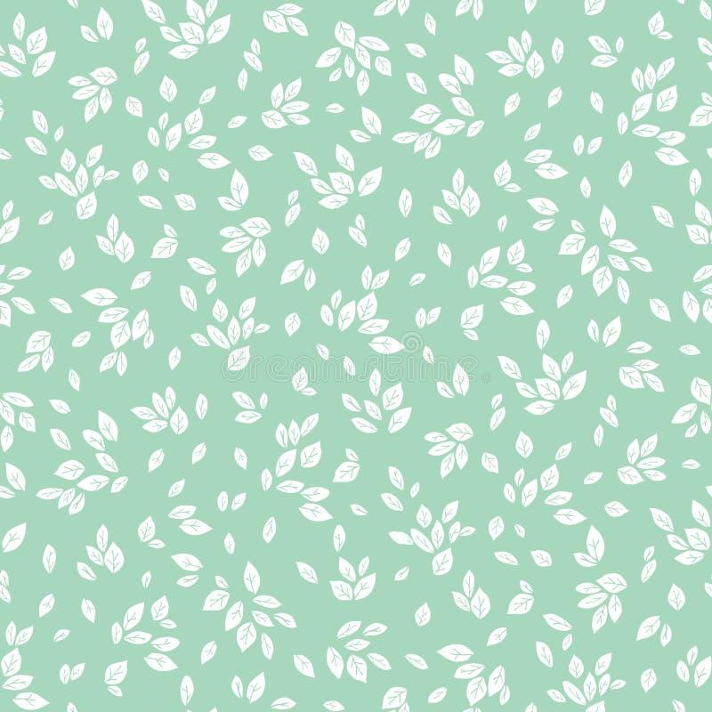 导航女性薄荷的绿色和白色单色叶子无缝的样式背景 皇族释放例证