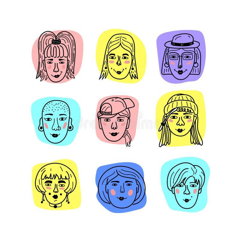 导航女性面孔,女孩乱画画象  妇女的滑稽的具体化,手拉的时髦行家女孩 向量 库存例证