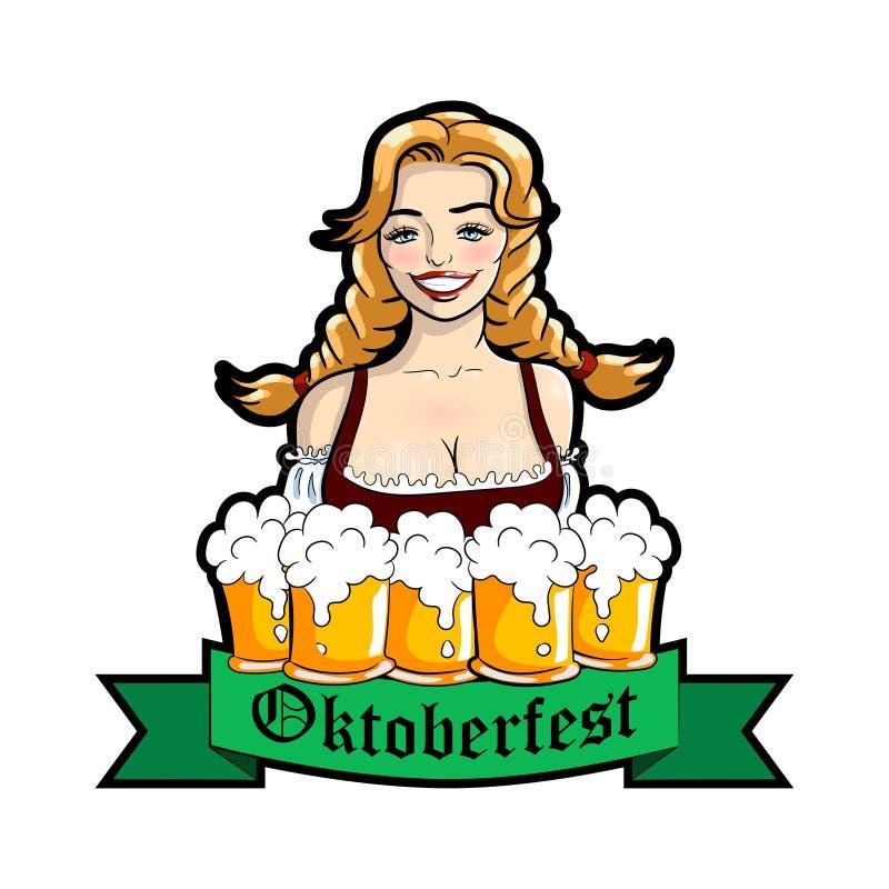 导航女服务员的例证有杯子的啤酒 慕尼黑啤酒节商标 皇族释放例证