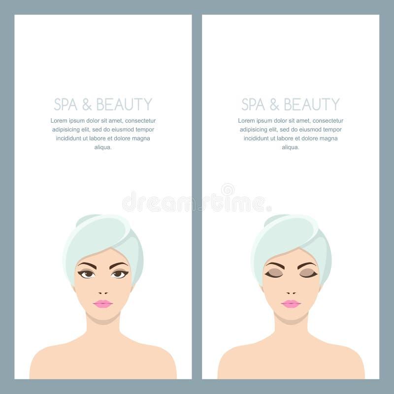 导航妇女的被隔绝的例证有毛巾的在头 在白色隔绝的美丽的女性面孔 向量例证