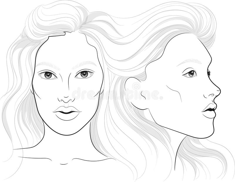 导航妇女` s外形的画象和正面与长的美丽的头发, facechart,构成的面孔图 向量例证