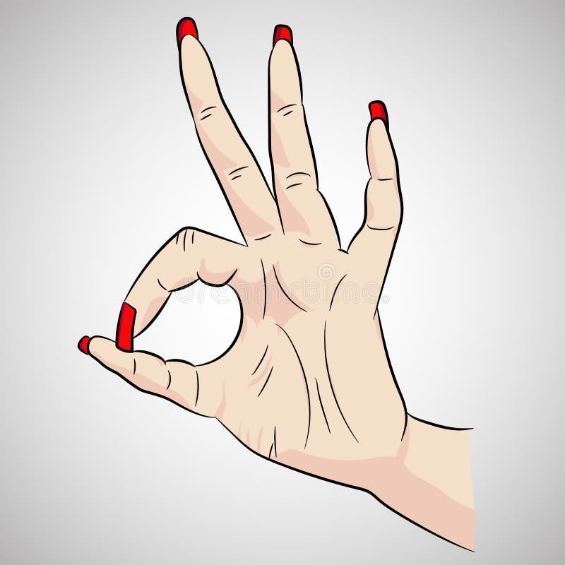 导航妇女` s手的图象以标志OK或Okay在动画片样式 库存照片