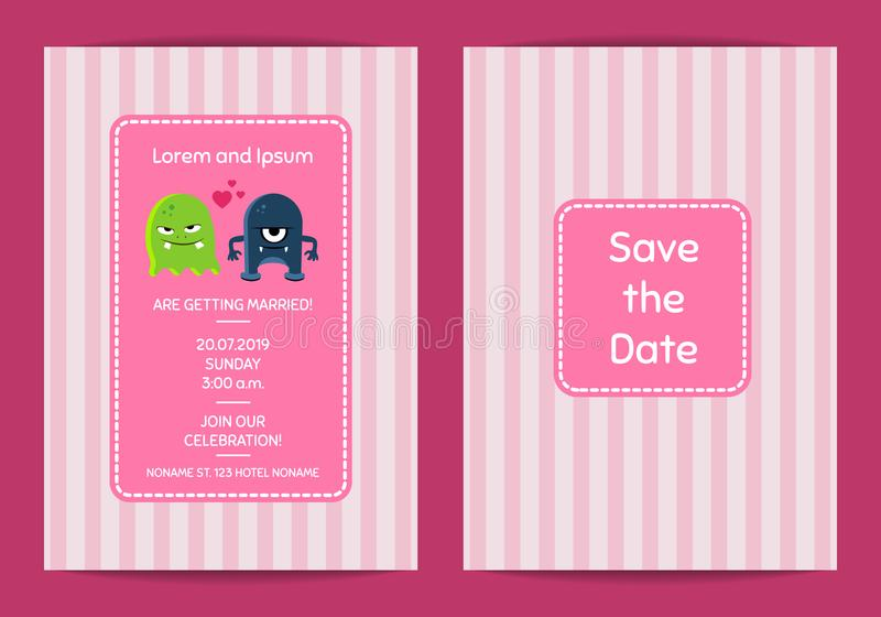 导航婚礼与逗人喜爱的妖怪夫妇的邀请模板在条纹背景 向量例证