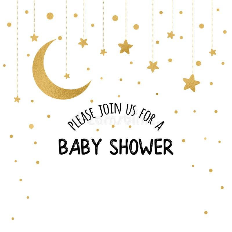 导航婴儿送礼会与闪闪发光金黄月亮,在白色的星的邀请模板 库存例证