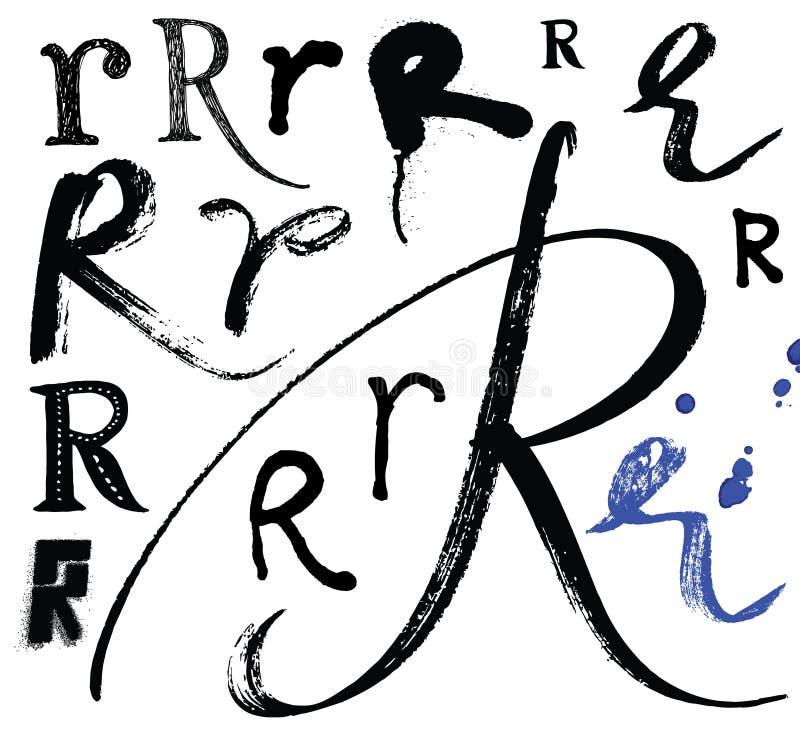 导航字母表写与刷子 向量例证