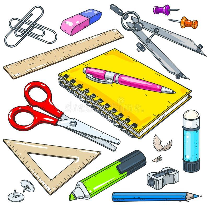 导航学校的文具和学生、笔记本有笔的,标志和剪刀 库存例证