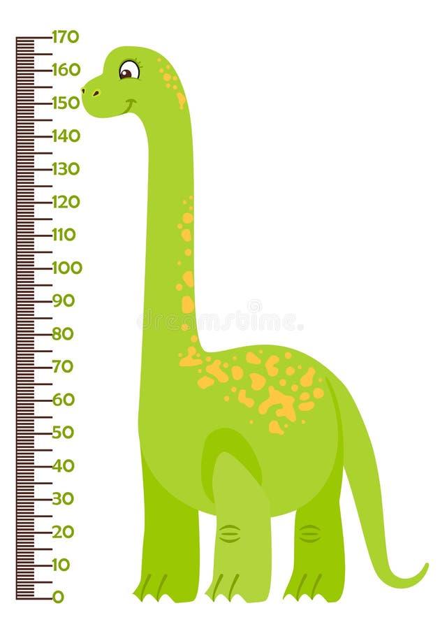 导航孩子与动画片恐龙的高度图的例证 向量例证