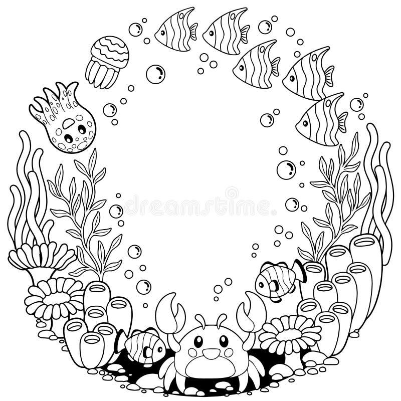 导航孩子和成人的上色可印的页 在海洋背景的逗人喜爱的海生物 水下的生活 库存例证