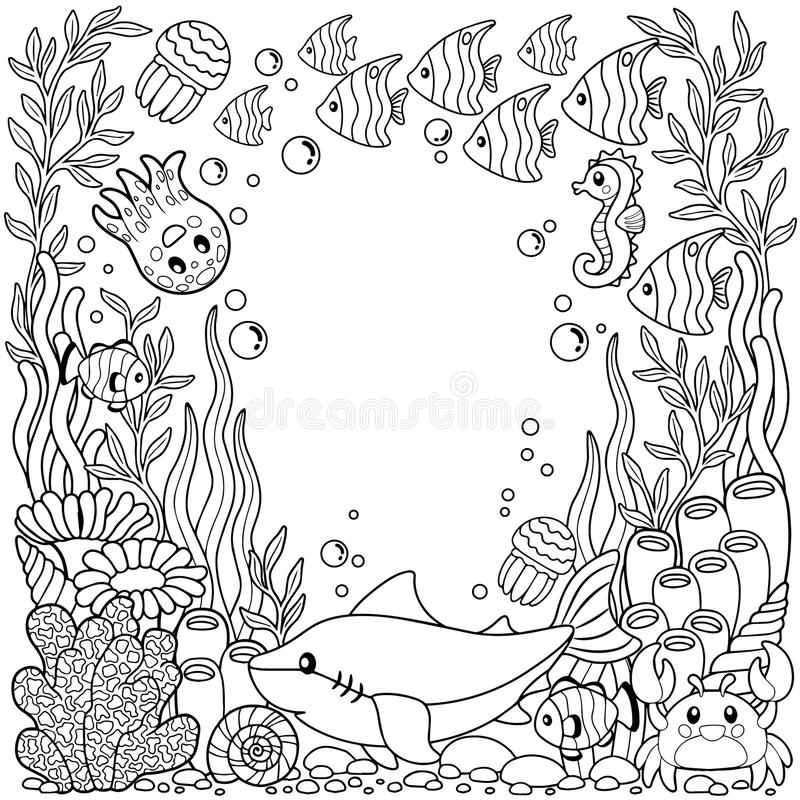 导航孩子和成人的上色可印的页 在海洋背景的逗人喜爱的海生物 水下的生活 皇族释放例证