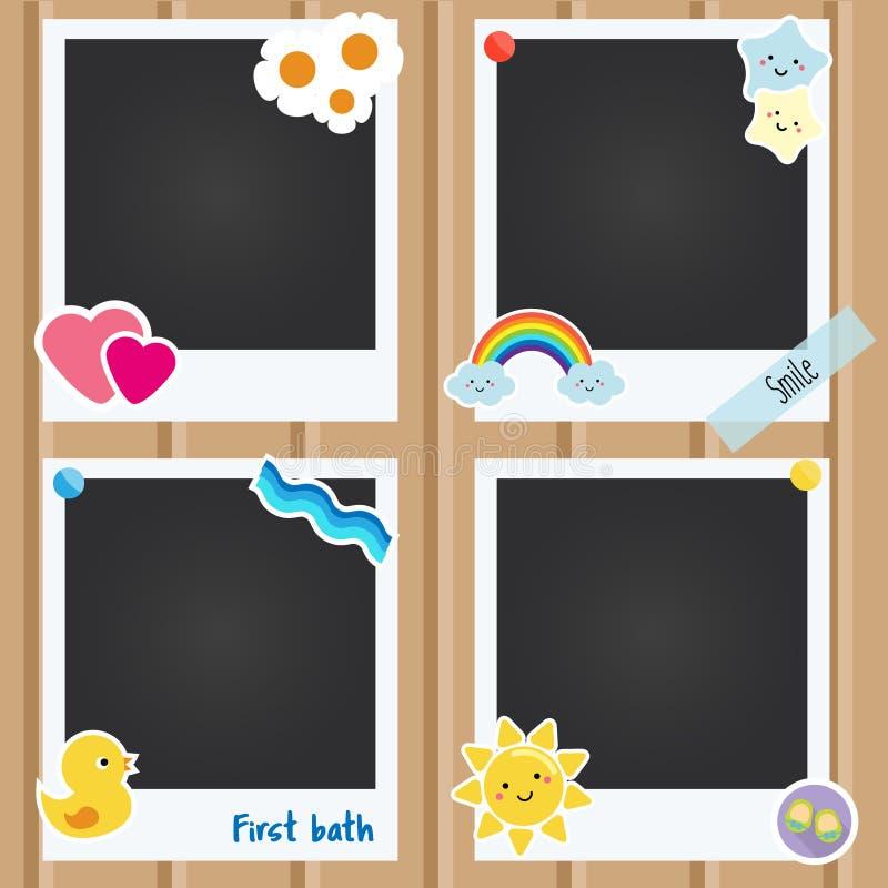 导航孩子的现实照片框架,新出生,婴孩册页 用c应用、剪贴薄和设计的模板装饰的 向量例证