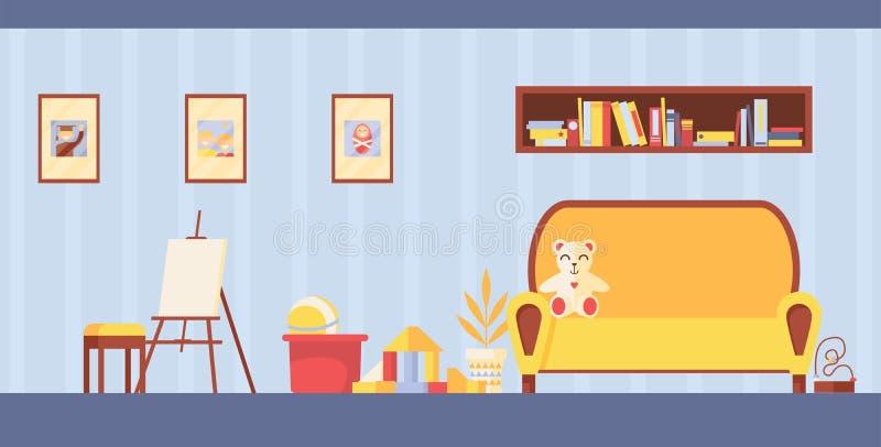 导航孩子研究和绘画的室内部 与画架、玩具和沙发的水平的游戏室在淡色 女用连杉衬裤涉及cou 皇族释放例证