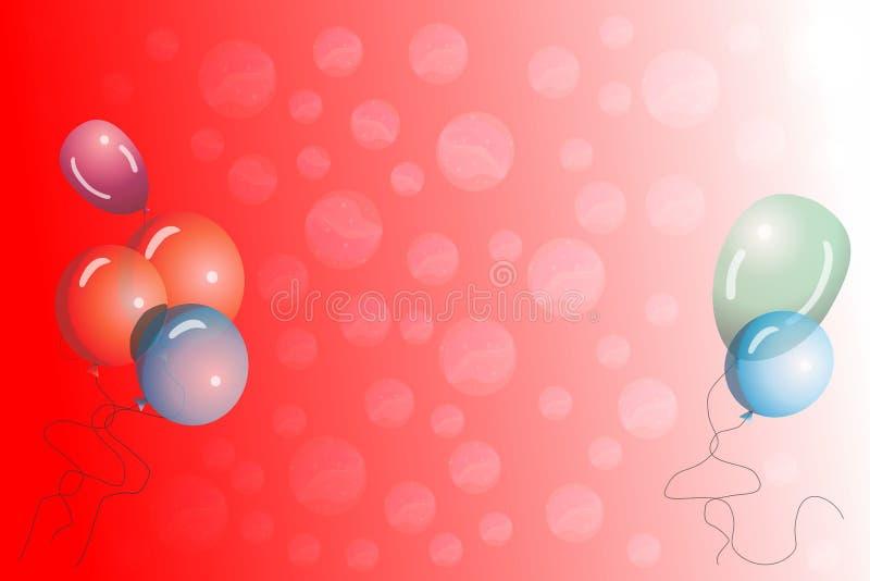 导航安置的生日男婴抽象背景在气球旁边 库存例证