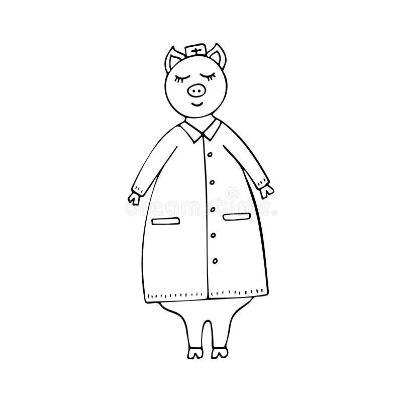 导航实验室外套的单色手拉的滑稽的猪医生 向量例证