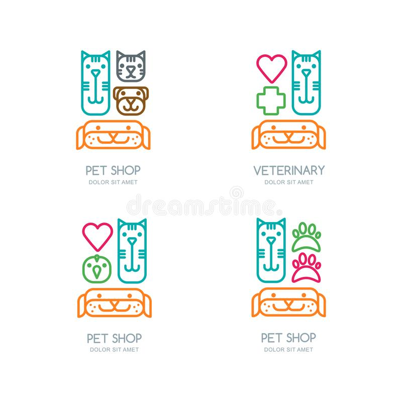 导航宠物店,兽医概述商标,象征,标签设计 狩医、宠物照管、猫和狗修饰的模板 库存例证