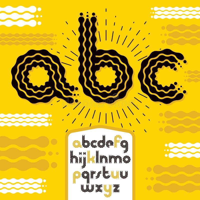 导航小写现代迪斯科字母表信件, abc集合 被环绕的大胆的字体,打字原稿为作为减速火箭的海报设计元素的使用 皇族释放例证
