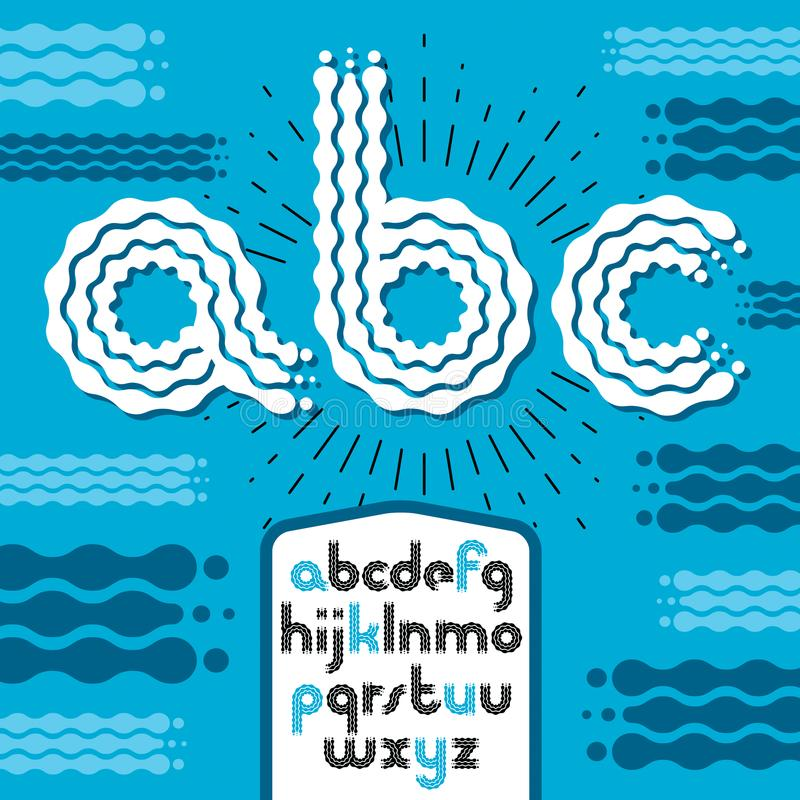 导航小写现代迪斯科字母表信件, abc集合 Rounde 向量例证