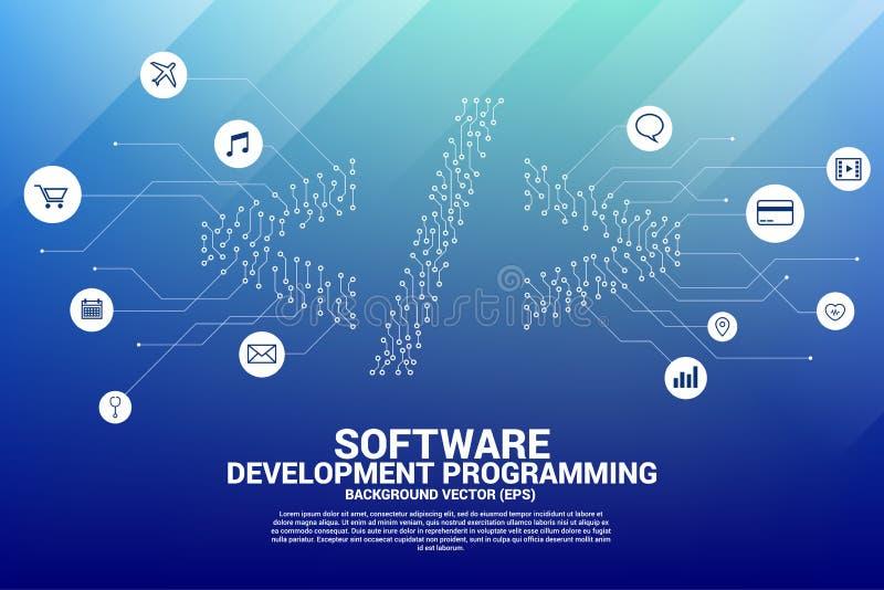 导航小点连接线电路板样式软件开发编程的标记象 皇族释放例证